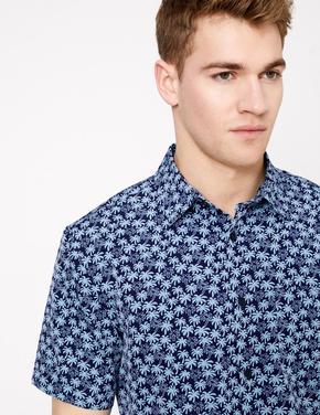 Erkek Mavi Palmiye Ağacı Desenli Gömlek