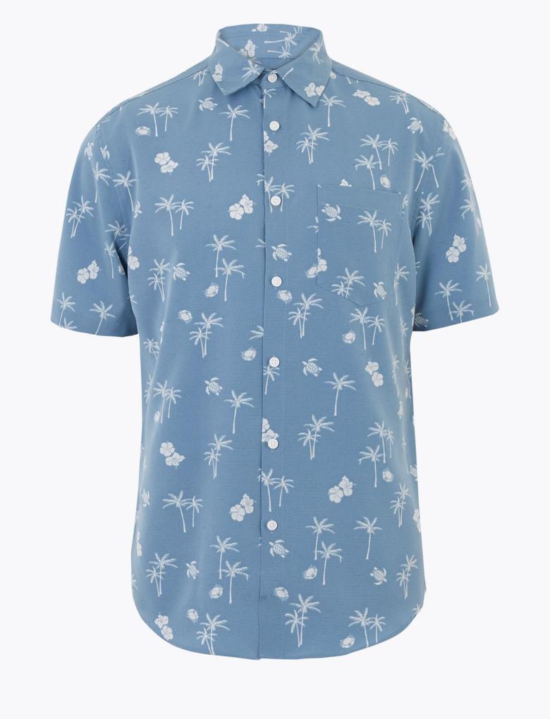 Erkek Mavi Palmiye Ağacı Desenli Kolay Ütülenebilir Gömlek