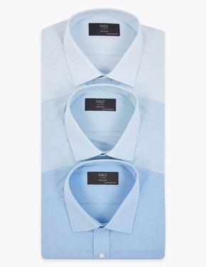 Erkek Mavi 3'lü Regular Fit Gömlek Seti