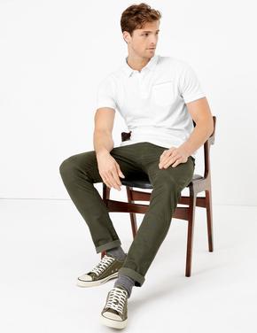 Beyaz Kısa Kollu Polo Yaka T-Shirt