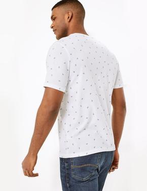 Beyaz Bisiklet Desenli Kısa Kollu T-Shirt