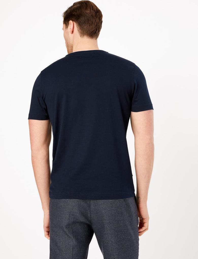 Erkek Lacivert Luxury Supima® Yuvarlak Yakalı T-Shirt