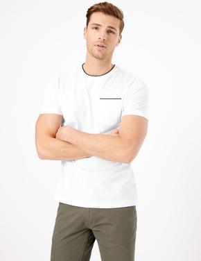 Erkek Beyaz Supima® Yuvarlak Yakalı T-Shirt