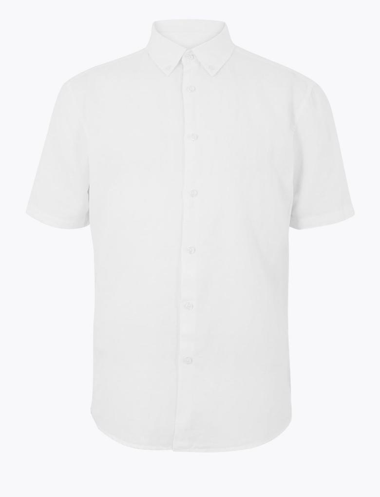 Erkek Beyaz Kolay Ütülenebilir Keten Karışımlı Gömlek