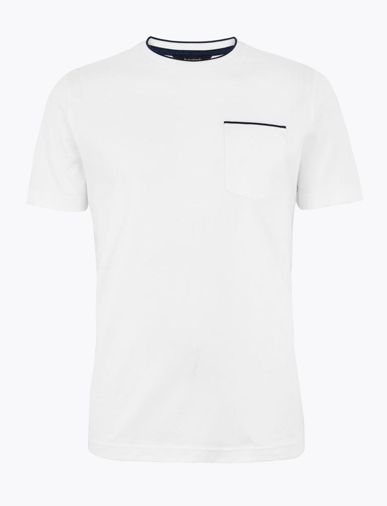 Erkek Beyaz Luxury Supima® Yuvarlak Yakalı T-Shirt