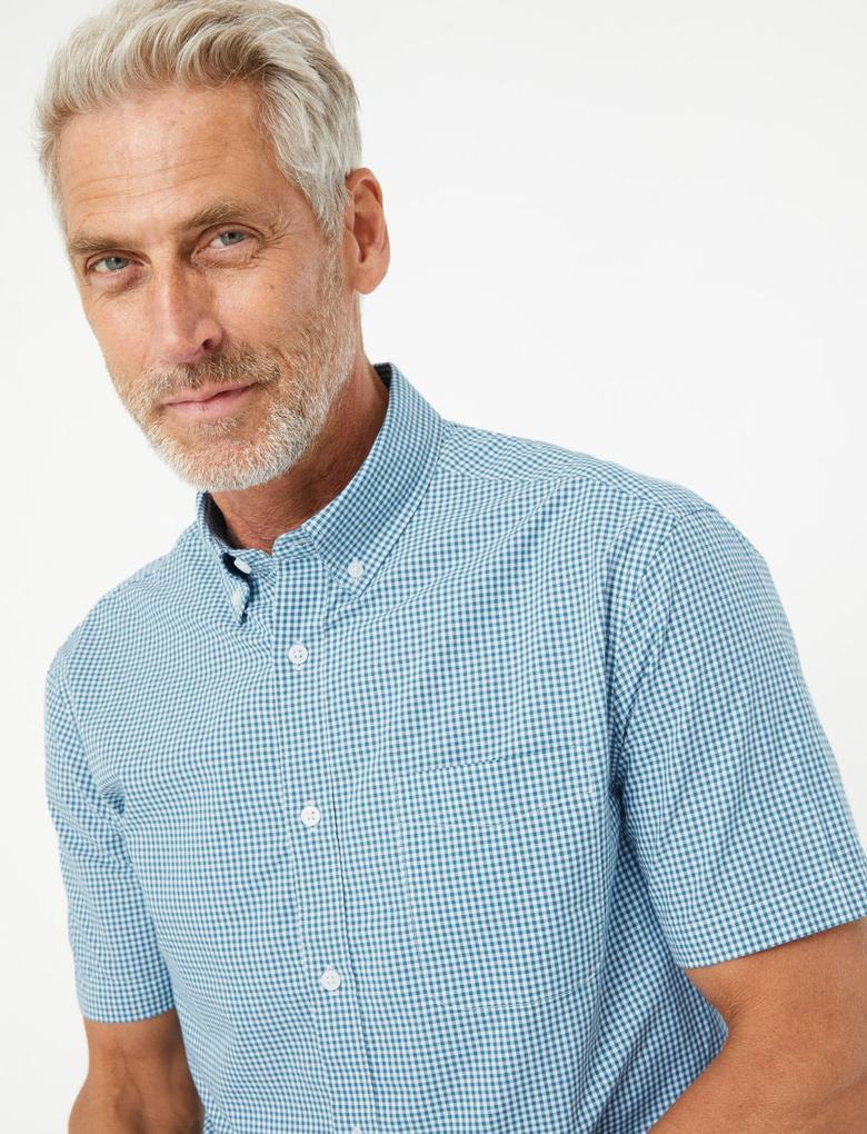 Erkek Mavi Kısa Kollu Regular Fit Gömlek