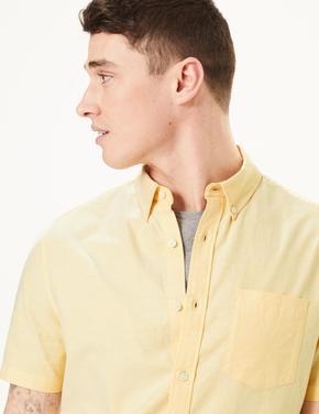 Erkek Sarı Saf Pamuklu Oxford Gömlek
