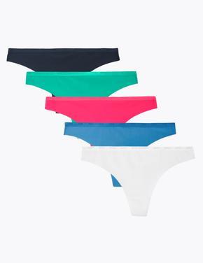 Kadın Multi Renk 5'li Thong Külot Seti