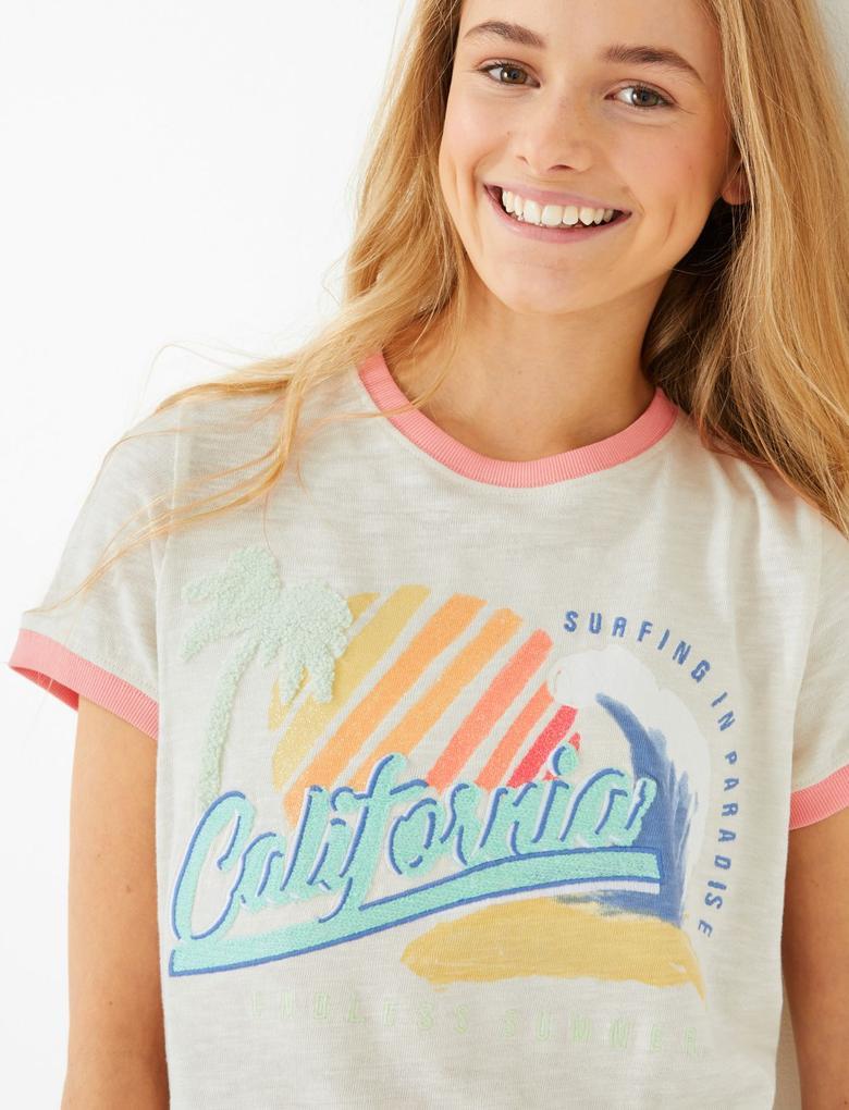 Kız Çocuk Bej Sloganlı Kısa Kollu T-Shirt