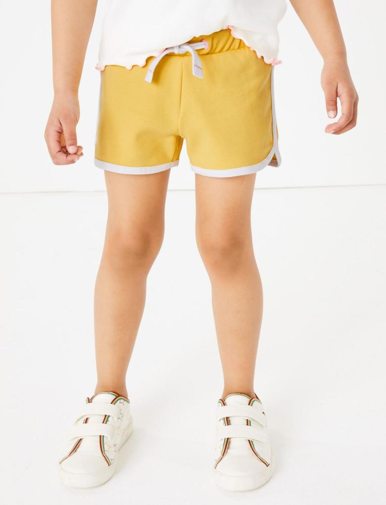 Kız Çocuk Sarı Pamuklu Regular Şort
