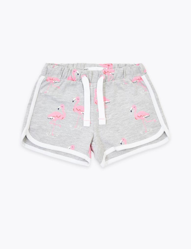 Kız Çocuk Gri Flamingo Desenli Şort