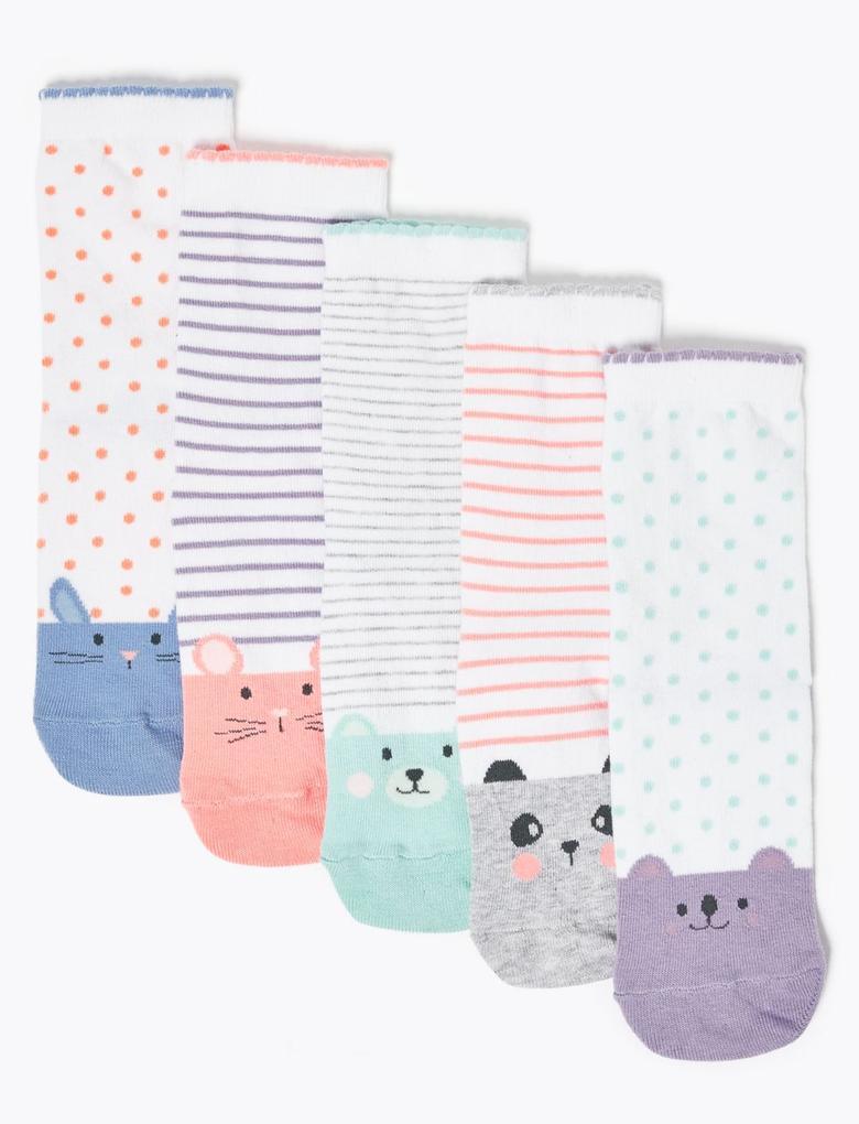 Çocuk Beyaz 5'li Desenli Çorap Seti