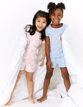 Çocuk Mavi 2'li Kısa Kollu Desenli Pijama Takımı