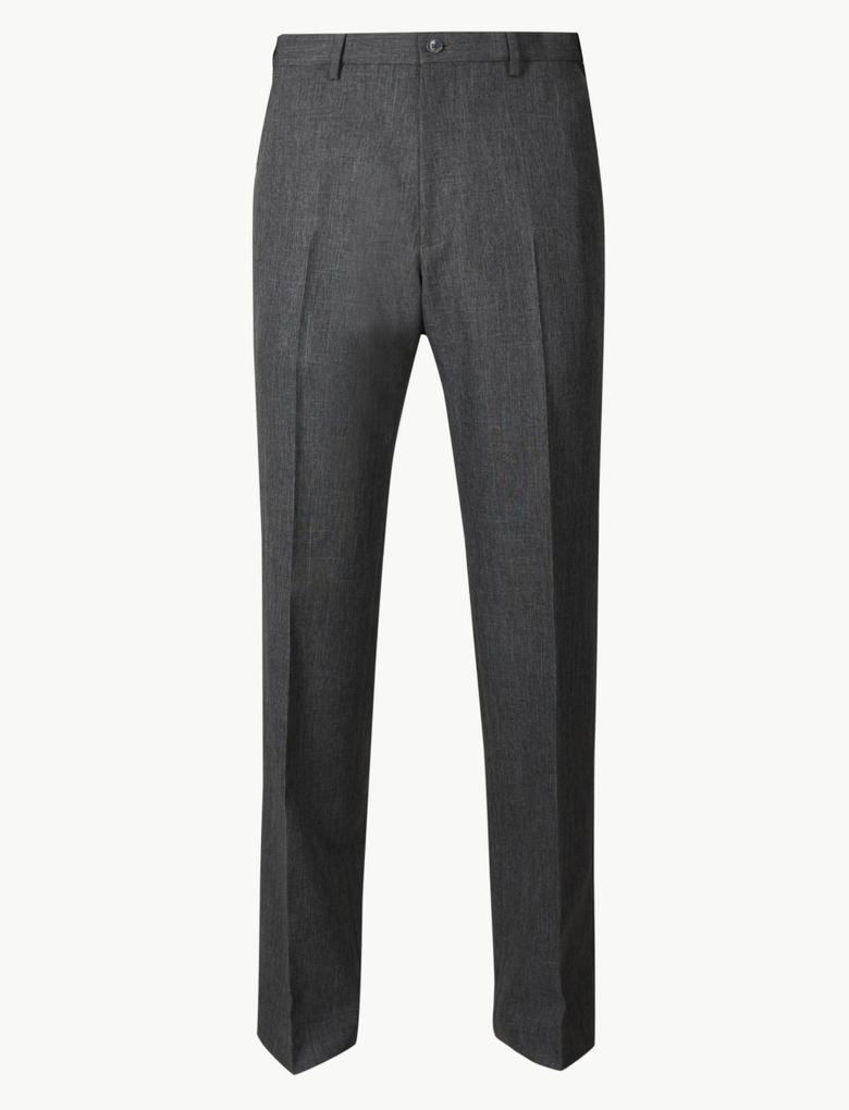 Erkek Gri Regular Fit Flat Front Pantolon