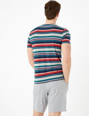 Erkek Multi Renk Kısa Kollu Çizgili Pijama Üstü