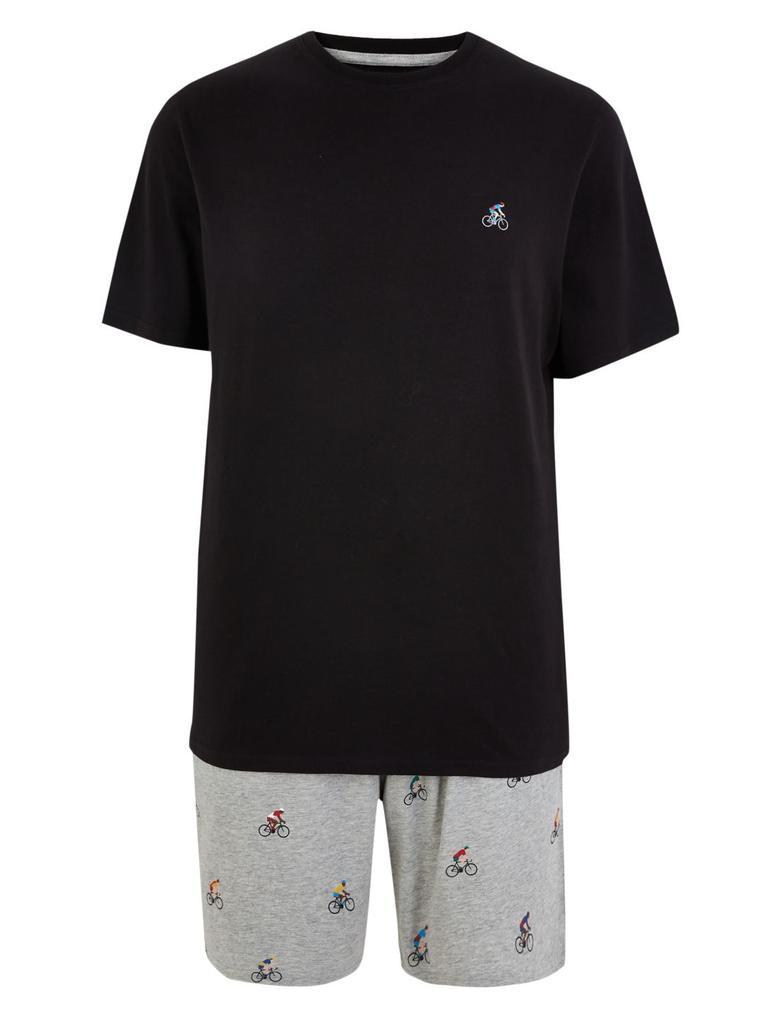 Erkek Siyah Bisiklet Desenli Pijama Takımı