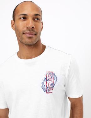 Beyaz Kısa Kollu Desenli T-Shirt