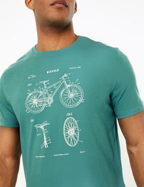 Mavi Bisiklet Desenli T-Shirt