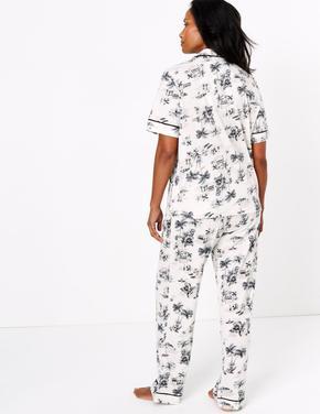 Kadın Beyaz Cool Comfort™ Çiçek Desenli Pijama Takımı