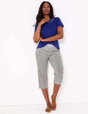 Kadın Gri Puantiyeli Crop Pijama Altı
