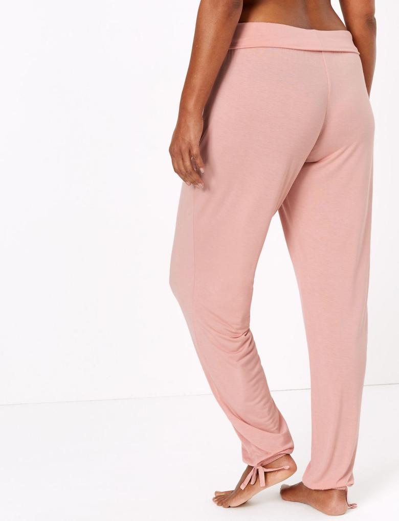 Kadın Pembe Paçaları Lastikli Pijama Altı