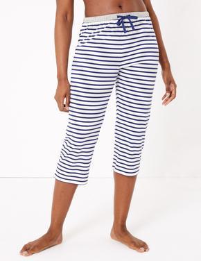 Kadın Koyu lacivert Çizgili Crop Pijama Altı