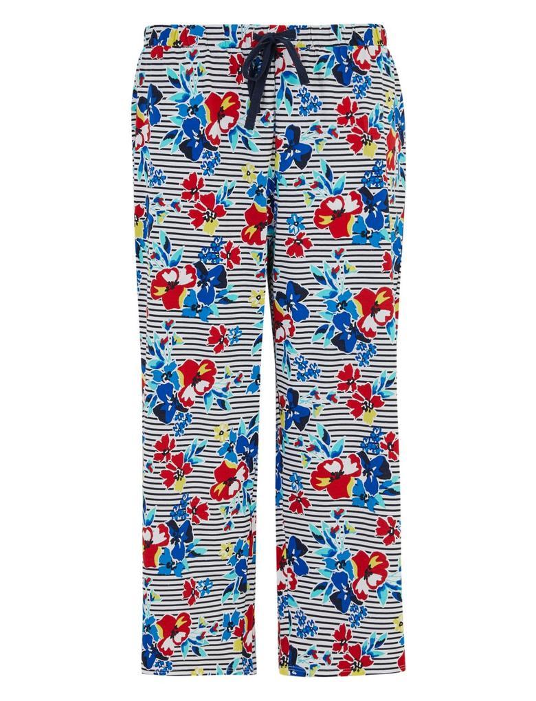 Kadın Koyu lacivert Çiçekli Crop Pijama Altı