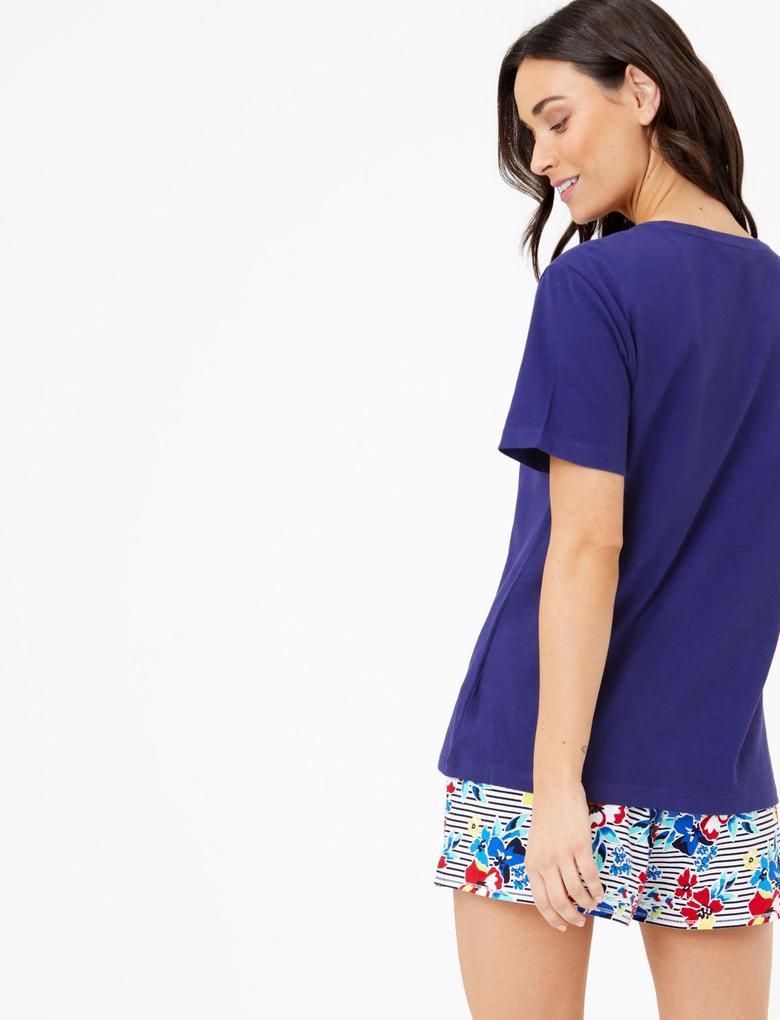 Kadın Koyu lacivert Kısa Kollu Sloganlı Pijama Üstü