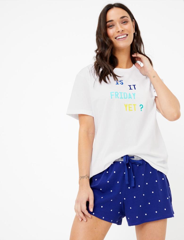 Kadın Beyaz Kısa Kollu Sloganlı Pijama Üstü
