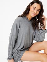 Kadın Gri Kapüşonlu Pijama Üstü