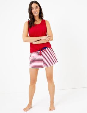 Kadın Kırmızı Kolsuz Pijama Üstü