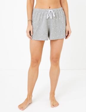 Kadın Gri Puantiyeli Şort Pijama
