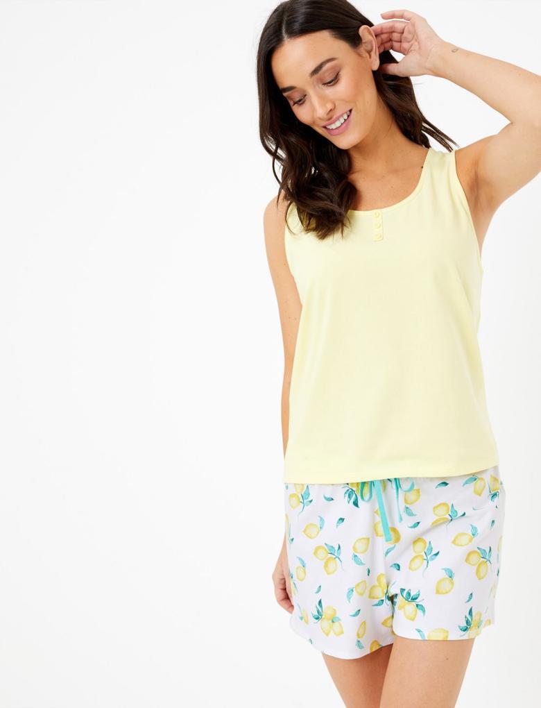 Kadın Beyaz Limon Desenli Şort Pijama