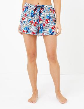Kadın Koyu lacivert Çiçek Desenli Şort Pijama