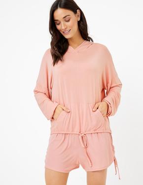 Kadın Pembe Yanları Bağcıklı Şort Pijama