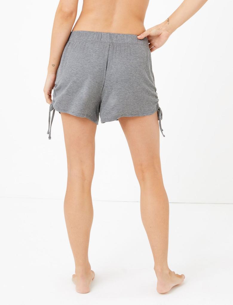 Kadın Gri Yanları Bağcıklı Şort Pijama