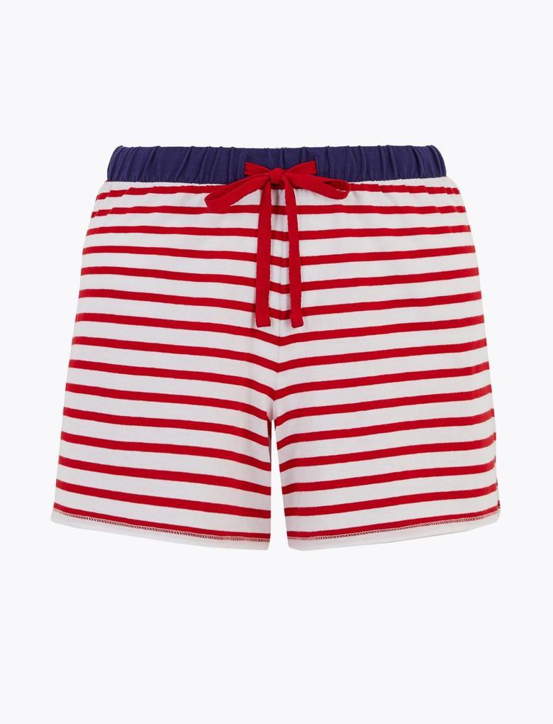 Kadın Kırmızı Çizgili Şort Pijama