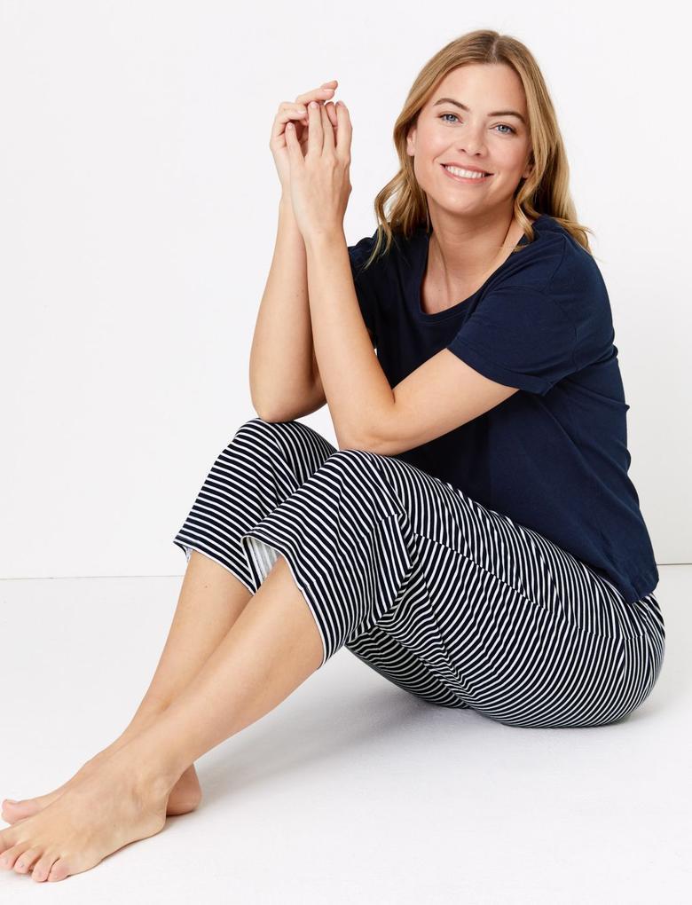 Kadın Lacivert Çizgili Crop Pijama Takımı
