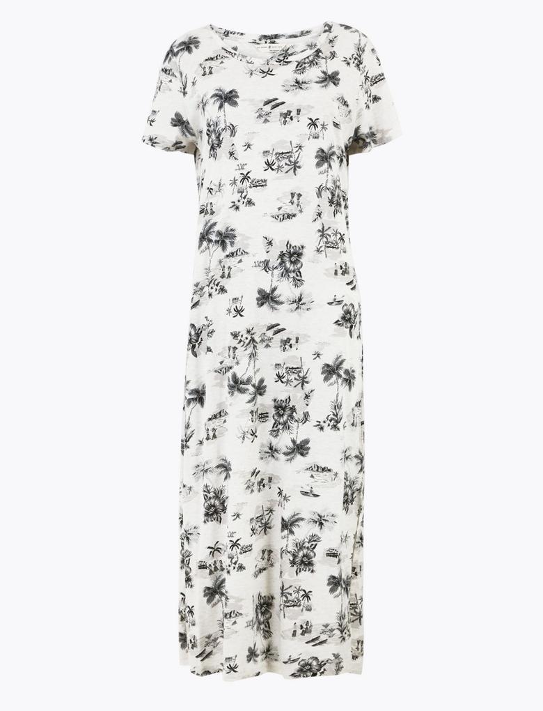 Kadın Beyaz Cool Comfort™ Çiçek Desenli Gecelik
