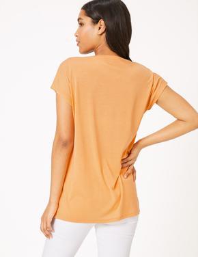 Kadın Turuncu V Yaka Relaxed T-Shirt
