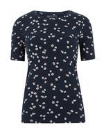 Kadın Lacivert Papatya Desenli Regular Fit T-Shirt
