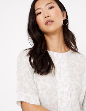 Kadın Bej Kısa Kollu Çiçek Desenli Bluz