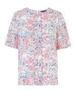 Kadın Multi Renk Kısa Kollu Çiçek Desenli Bluz
