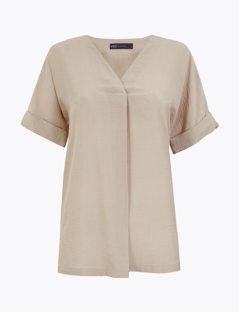 Kadın Renksiz V Yaka Popover Bluz