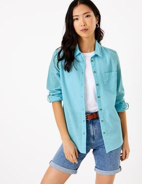 Kadın Mavi 3/4 Kollu Relaxed Gömlek