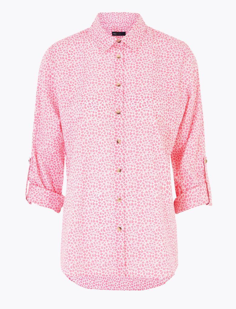 Kadın Pembe Çiçek Desenli Relaxed Gömlek