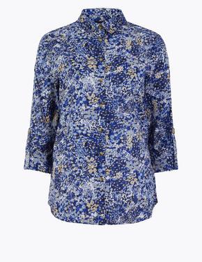 Kadın Lacivert Çiçek Desenli Gömlek