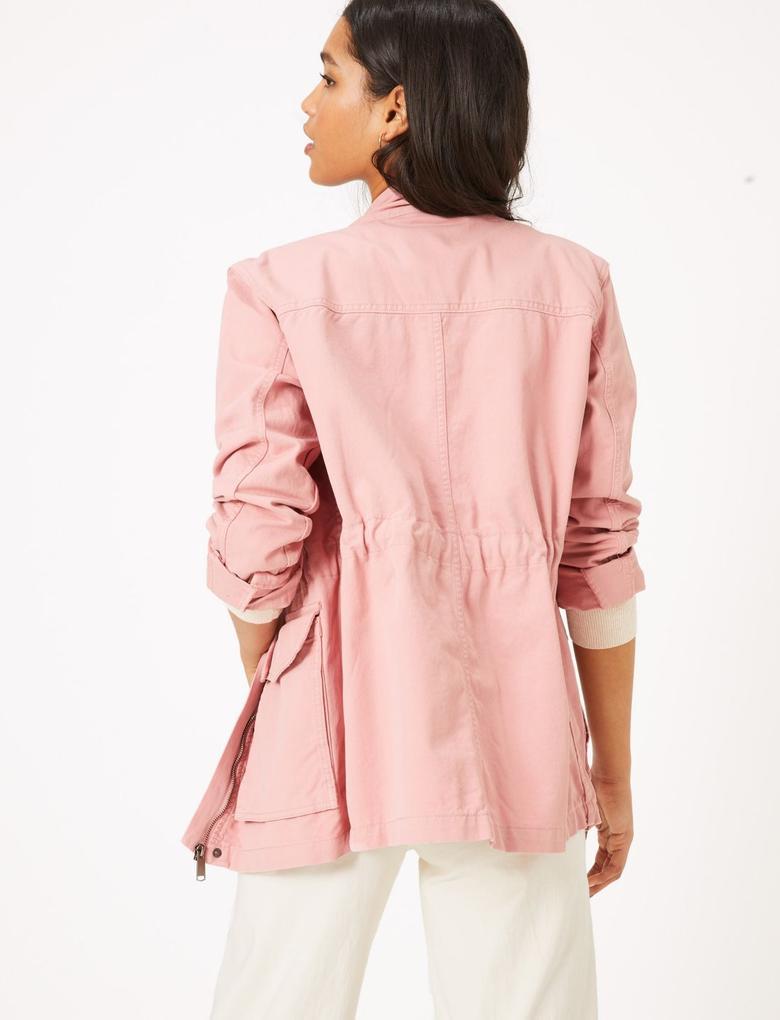 Kadın Turuncu Dik Yakalı Utility Ceket