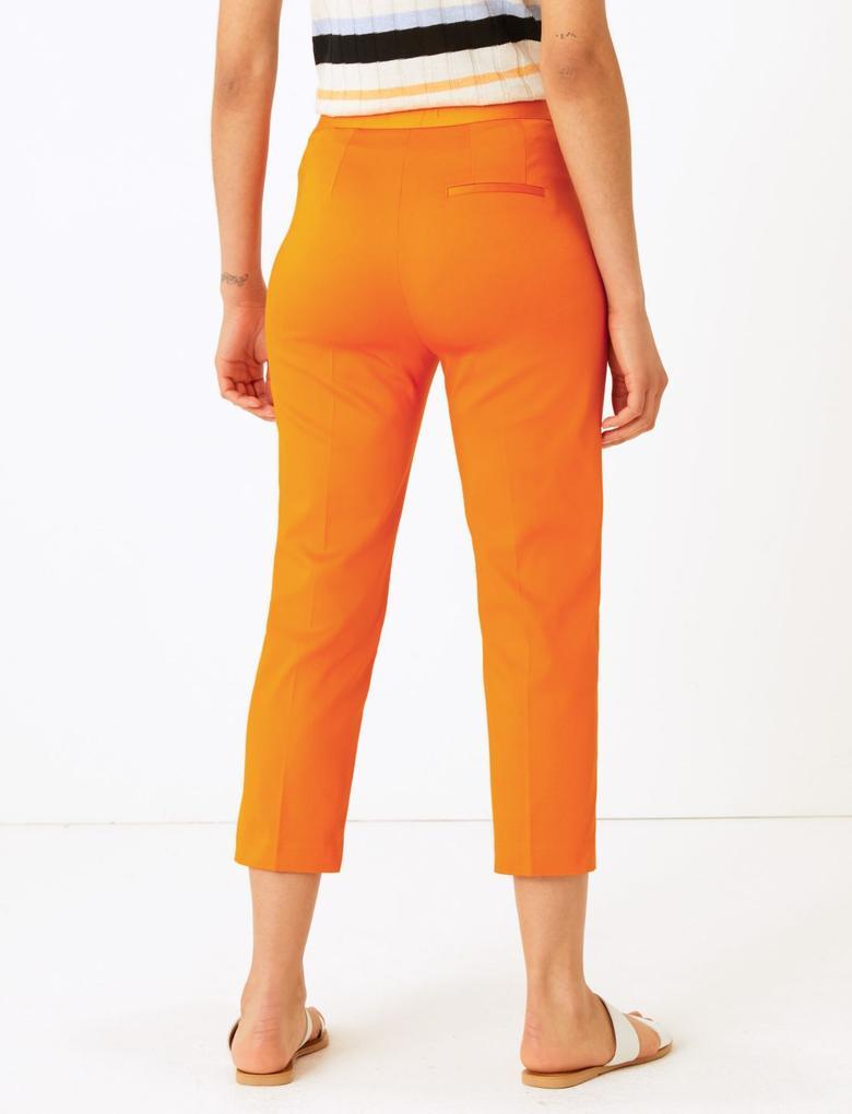 Kadın Turuncu Mia Slim Crop Pantolon