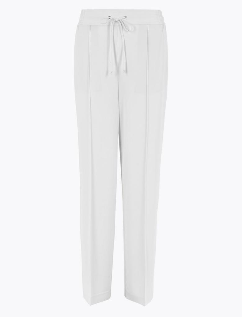 Kadın Beyaz Geniş Paça Kumaş Pantolon
